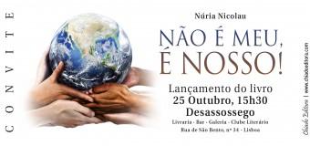 """Lançamento do Livro """"Não é meu, é Nosso!"""" de Núria Nicolau – 25 de Outubro"""