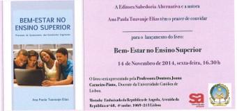 """Lançamento do livro """"Bem-Estar no Ensino Superior"""" de Ana Paula Elias – 14 de Novembro"""