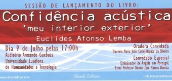 """Lançamento do livro """" Confidência Acústica"""" de Euclides Lemba, 9 Julho"""