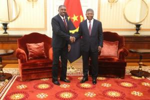Presidente da República, João Lourenço (à dir.) recebe Primeiro-ministro de São Tomé e Príncipe, Jorge Bom Jesus FOTO: PEDRO PARENTE