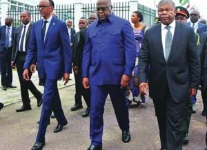 João Lourenço, Félix Tshisekedi e Paul Kagame estiveram reunidos em Kinshasa em Maio Fotografia: DR