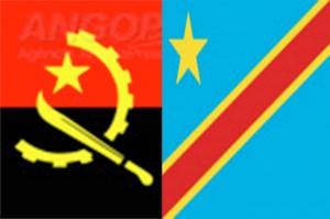 Arte das Bandeiras de Angola (esq) e da RDC   Foto: Arte de Osvaldo Pedro